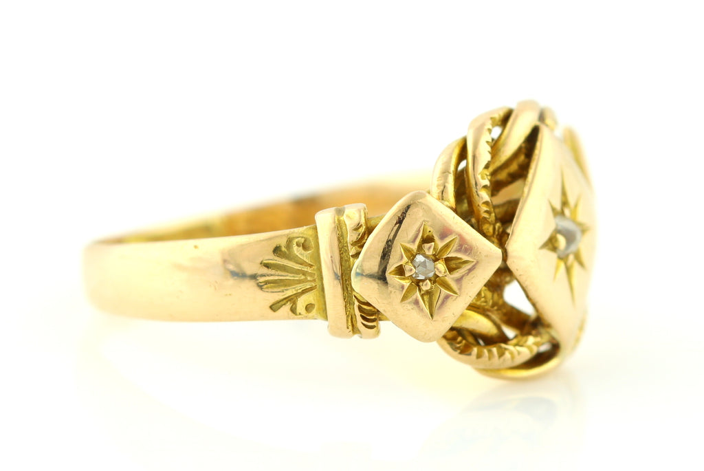 Antique 18ct Gold Knot Ring With Diamonds - Victorian Knot Ring c.1851