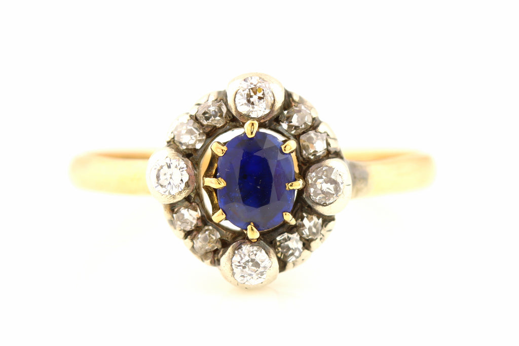 9ct Rose Gold Antique Sapphire and Diamond Cluster Ring