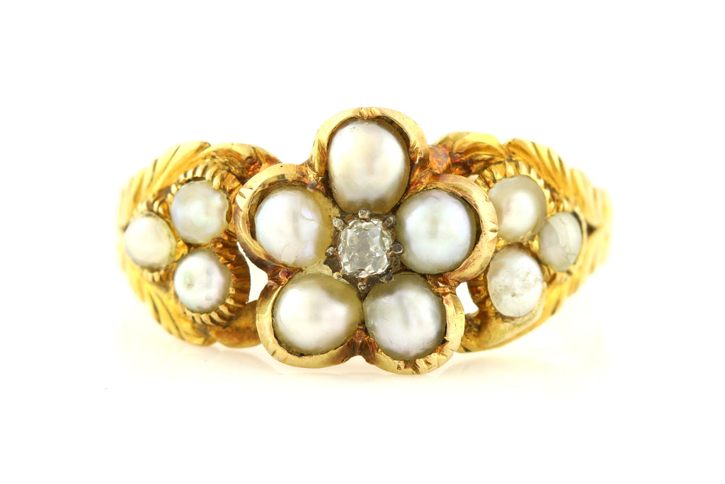 18ct Gold Georgian Pearl and Diamond Ring c.1813