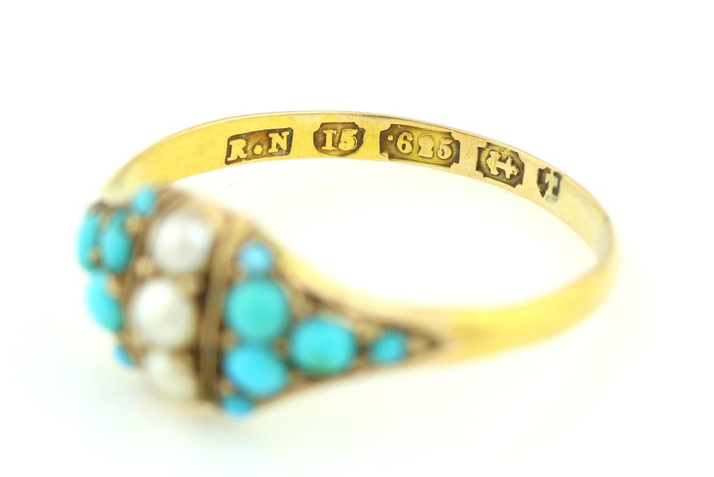 15ct Gold Victorian Turquoise and Pearl Dress Ring