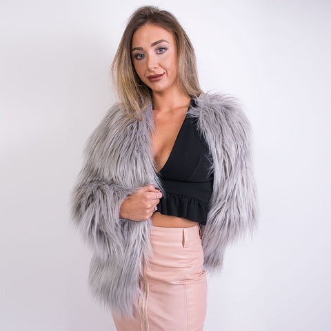 april mongolian grey fur jacket AA1423