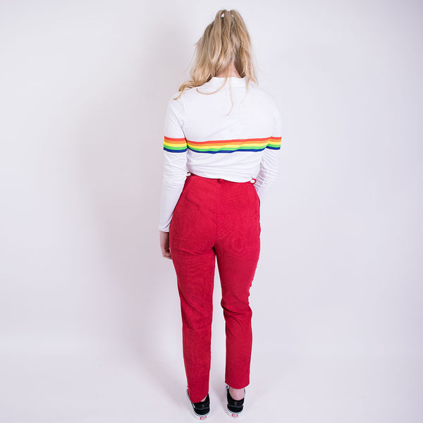 wide leg corduroy trousers red