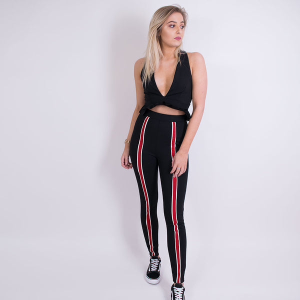 Alex sport stripe trousers blk/red 10307
