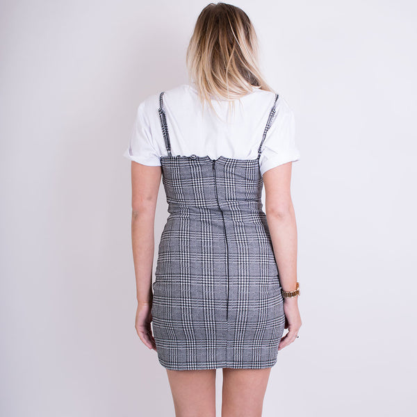 cecile charles check dress grey