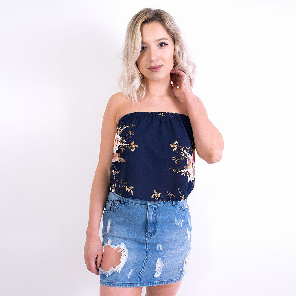ARIA FLORAL TOP NAVY 8422