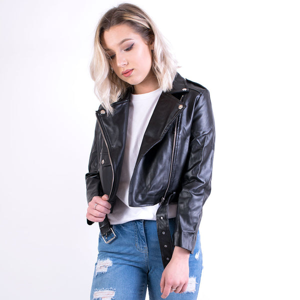 brooke leather jacket black