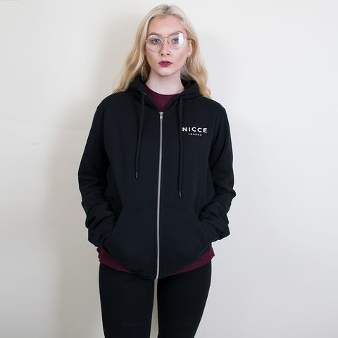 nicce zip chest logo hoody black