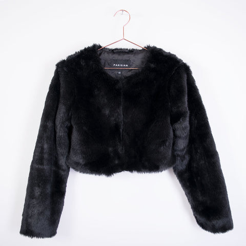 becs faux fur cropped jacket black