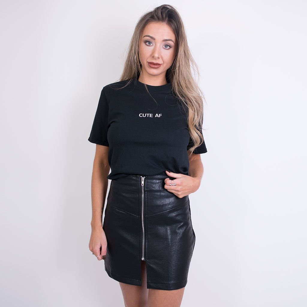 Rebecca black leather zip front skirt