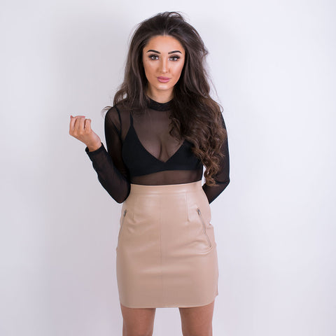 DARCY PU LEATHER SKIRT BEIGE 15002