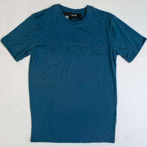 nicce emboss t-shirt navy blue