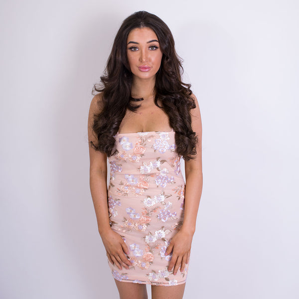 emma floral embroidered bodycon dress pink 10083