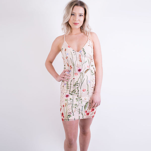 jess floral embroidered dress nude 7981