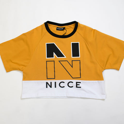 nicce fraction tshirt white/golden yellow