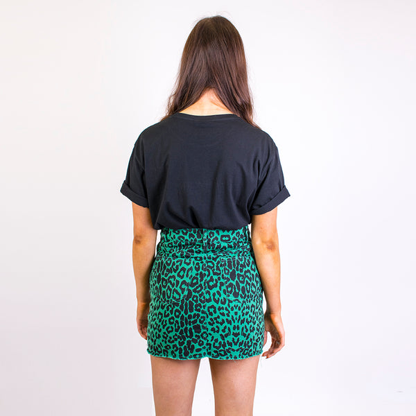 lexi leopard print denim skirt green