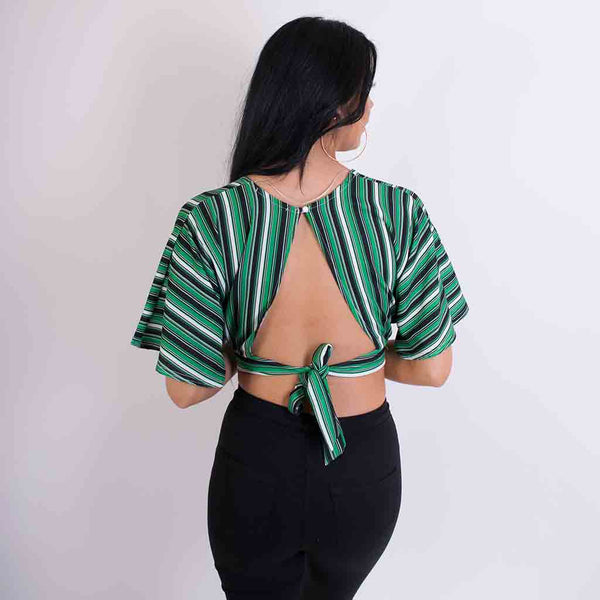nora striped cropped tie top green/black