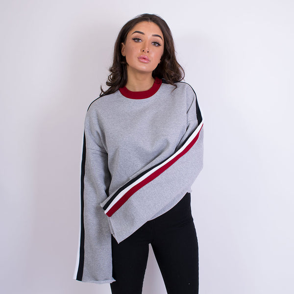 highway sweat striped sleeve grey maroon 18069