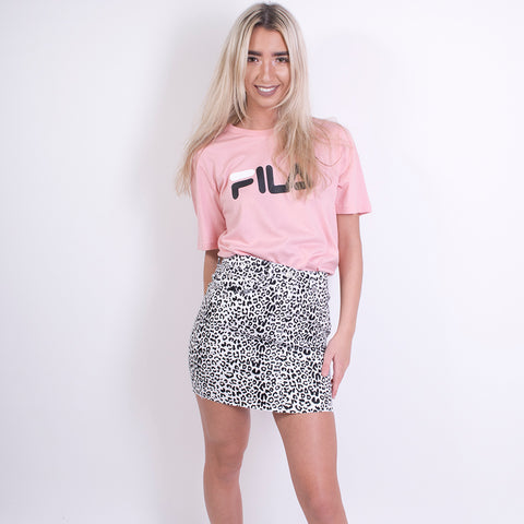 kat leopard print mini skirt white/black
