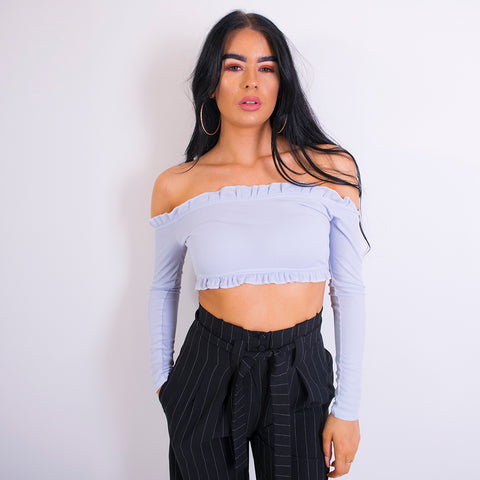 kira long sleeve bardot crop top blue m737