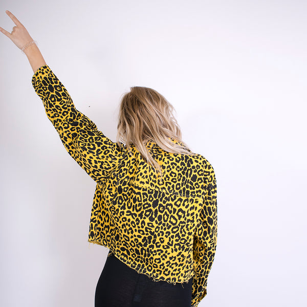 lexi leopard print denim jacket yellow