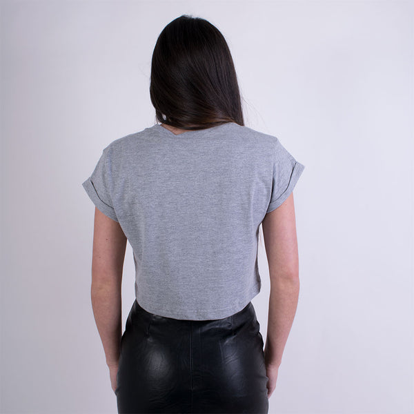 EST 13 CROP TSHIRT GREY/WHITE