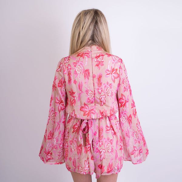 mary floral print high neck playsuit pink 9785