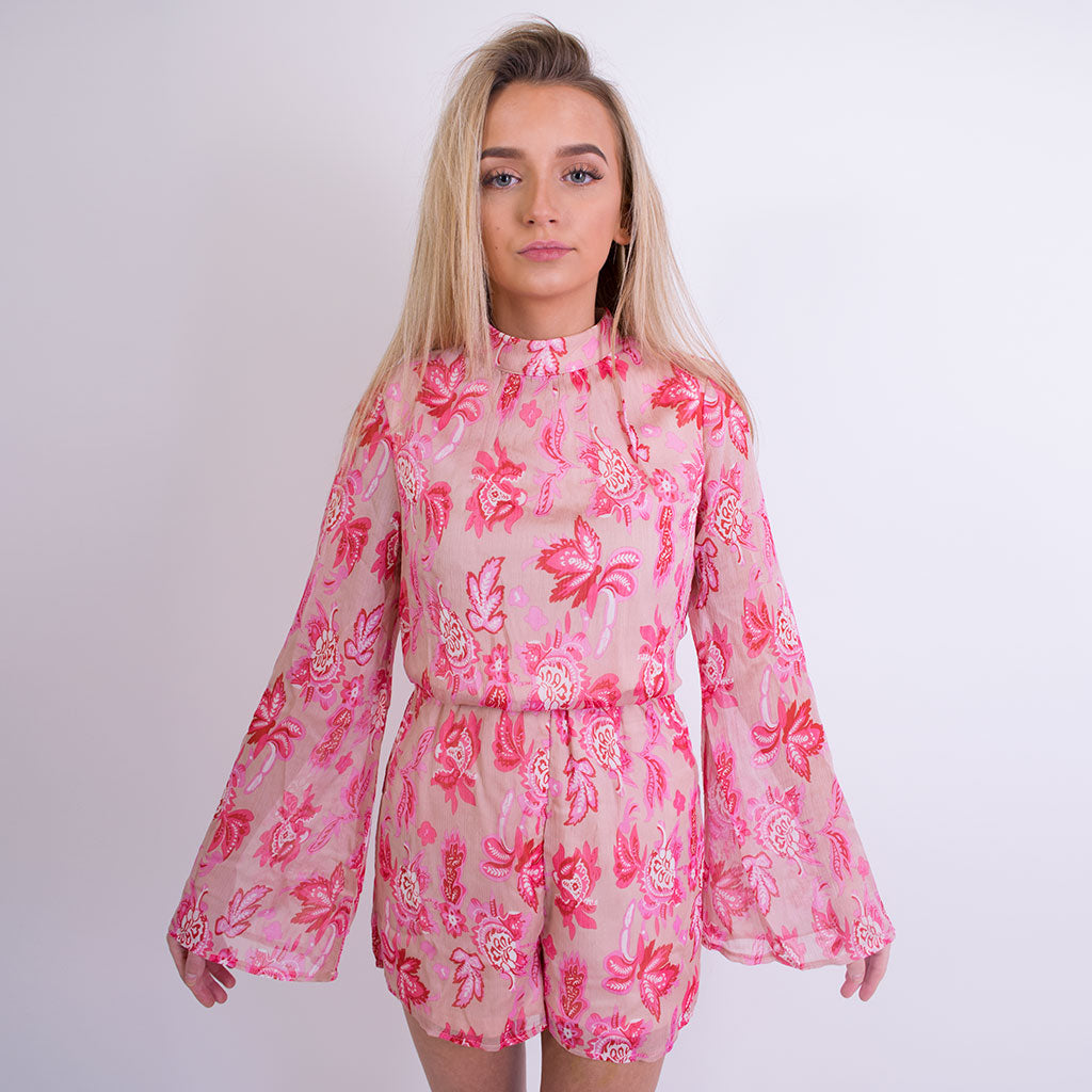 3db4faa462 ... mary floral print high neck playsuit pink 9785 ...