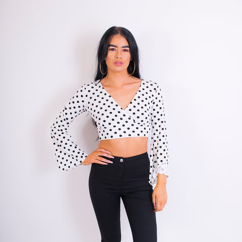 grace tie back top white/black polka