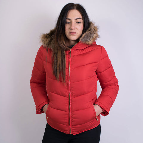 aubrey fur hood puffa jacket red JK6823