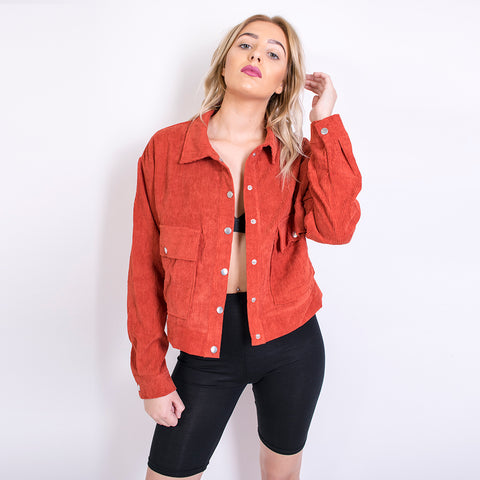 jonie cropped cord trucker jacket 16c16 rust