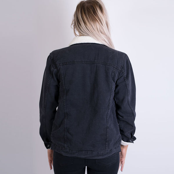 sinneade denim sherpa jacket black DJK9212
