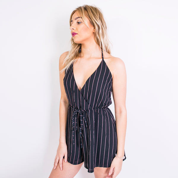 nicky striped playsuit black/red