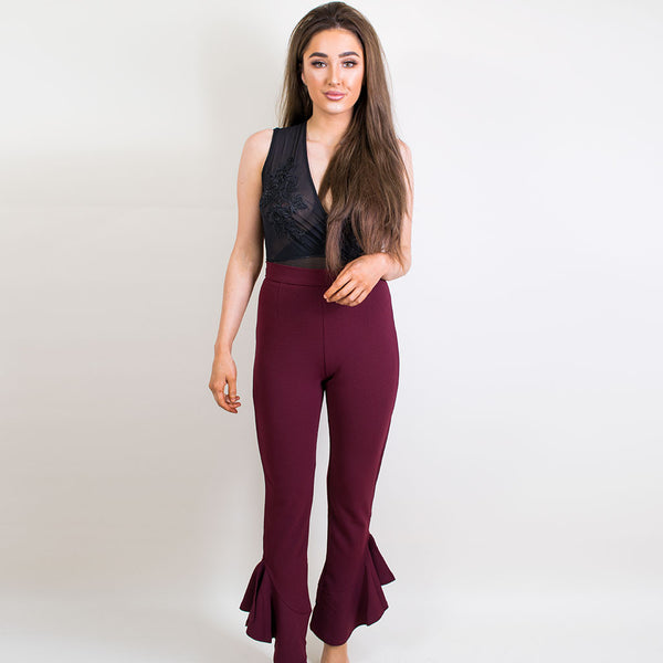 megs fishtail trousers burgundy er036