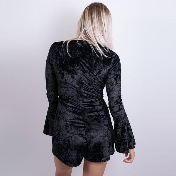 zoe velvet playsuit black t0253
