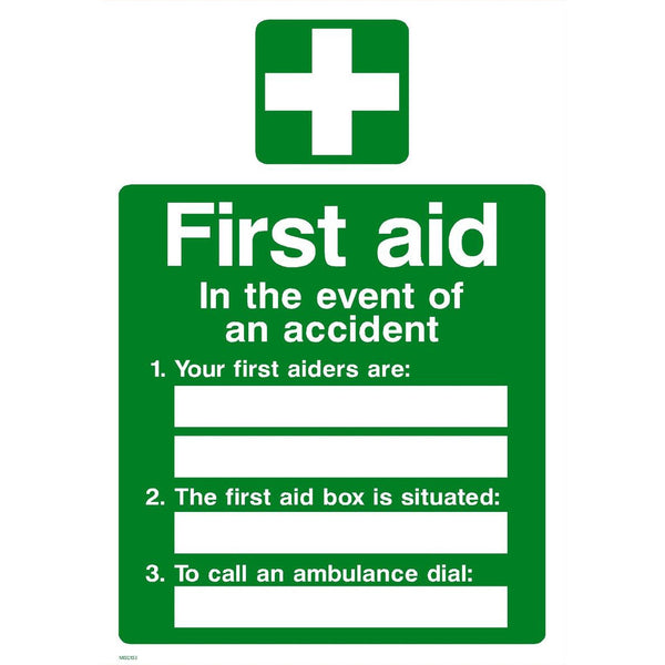 A4 First Aid Sign - First Aiders (Adhesive)