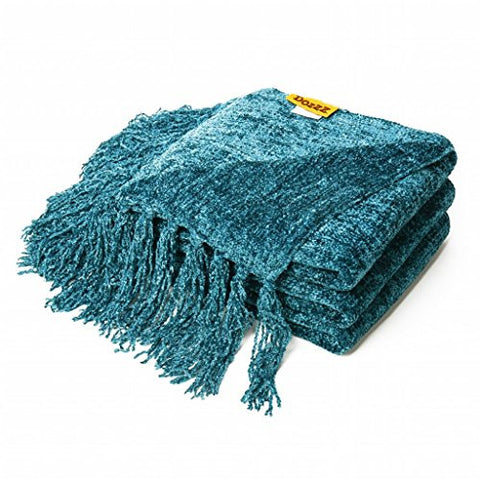 DOZZZ Decorative Throw Couch Chenille Throw Blanket Knitted Tweed Throw Sofa Cover Blanket 60 X 50 Inches, Teal