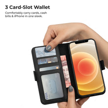 "Load image into Gallery viewer, iATO iPhone 12 Pro 6.1"" 2-in-1 Leather Wallet Case. Magnetic Detachable Shock-Proof Case - Protective PU Leather - iATO Awesome Accessories"