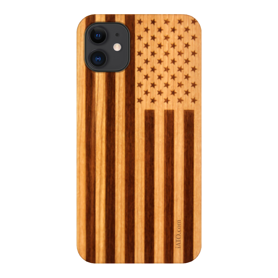 iPhone 12 / 12 Pro Case. Real American Flag Cherry Wood. - iATO Awesome Accessories