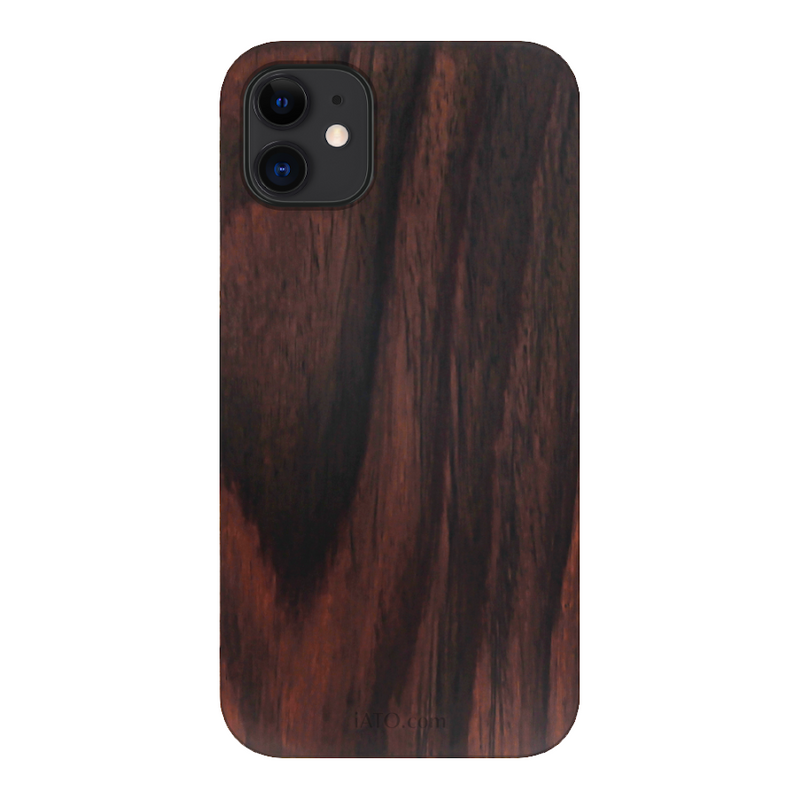 iPhone 12 Case. Real Natural Ebony Wood. Minimalistic Case. - iATO Awesome Accessories