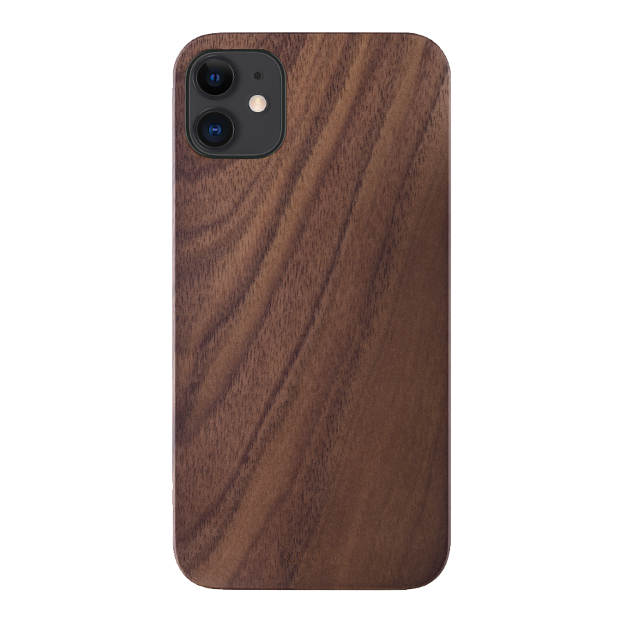 iPhone 12 Case. Real Natural Walnut Wood. Minimalistic Design. - iATO Awesome Accessories