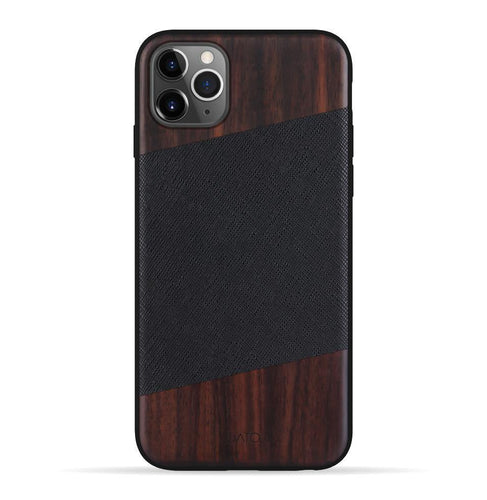 iPhone 11 Pro Max Case. Real Bois de Rose Wood & Black Saffiano Leather. - iATO Awesome Accessories
