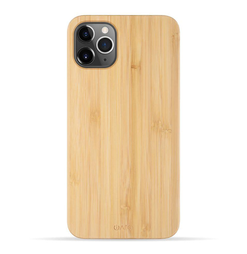 iPhone 11 Pro Max Case. Real Natural Bamboo Wood. Minimalistic Design. - iATO