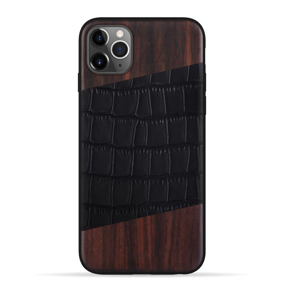 iPhone 11 Pro Max Case. Real Bois de Rose Wood & Black Croco Leather. - iATO