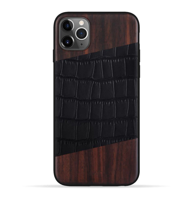 iPhone 11 Pro Max Case. Real Bois de Rose Wood & Black Croco Leather. - iATO Awesome Accessories