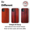 iPhone 12 Case. Real Natural Dark Rose Wood. Minimalistic Design.