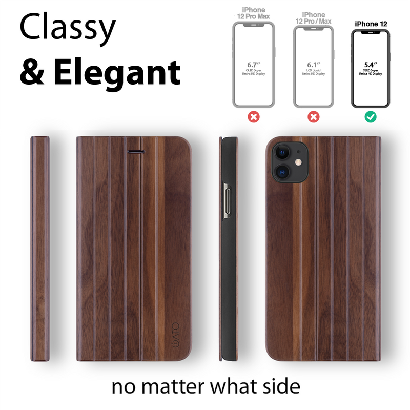 iPhone 12 / 12 Pro Case. Real Walnut Wood. Folio Flip Book Style. - iATO Awesome Accessories