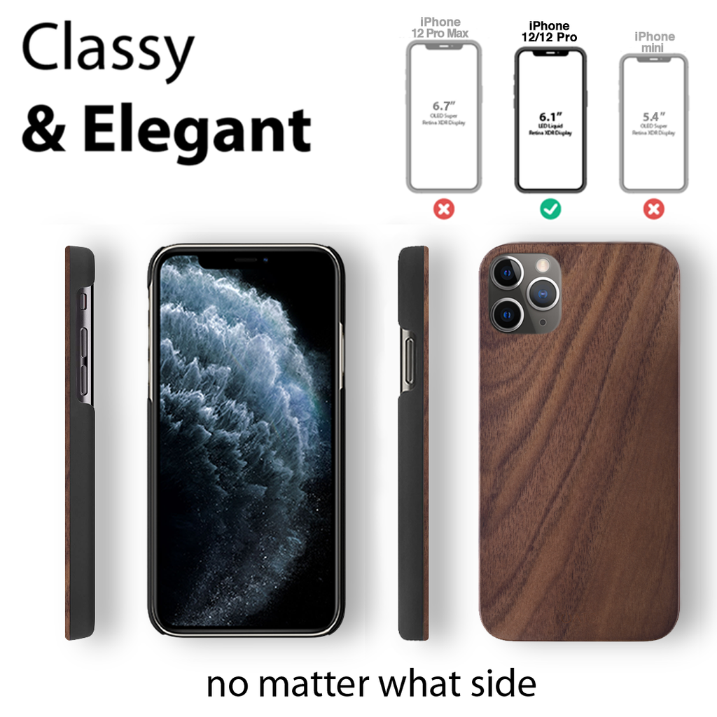 iPhone 12 Pro Case. Real Natural Walnut Wood. Minimalistic Design. - iATO Awesome Accessories