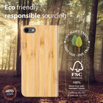 iPhone SE 2020 / 8 / 7 Case. Real Bamboo Wood. Folio Flip Book Style. - iATO Awesome Accessories
