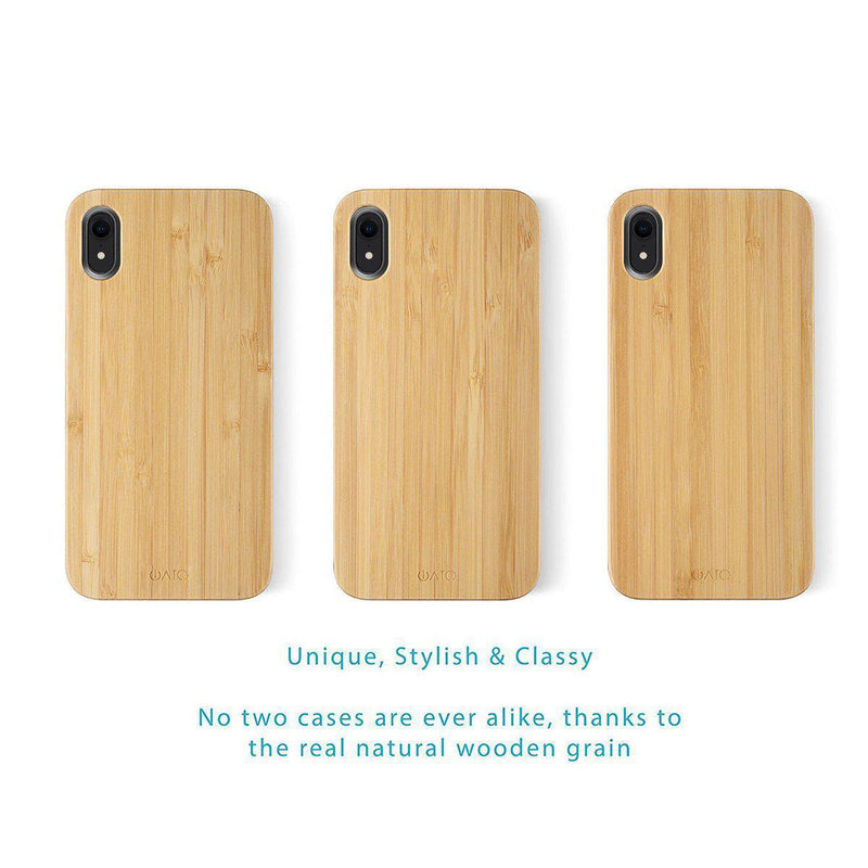 iPhone XR Case. Real Natural Bamboo Wood. Minimalistic Design.