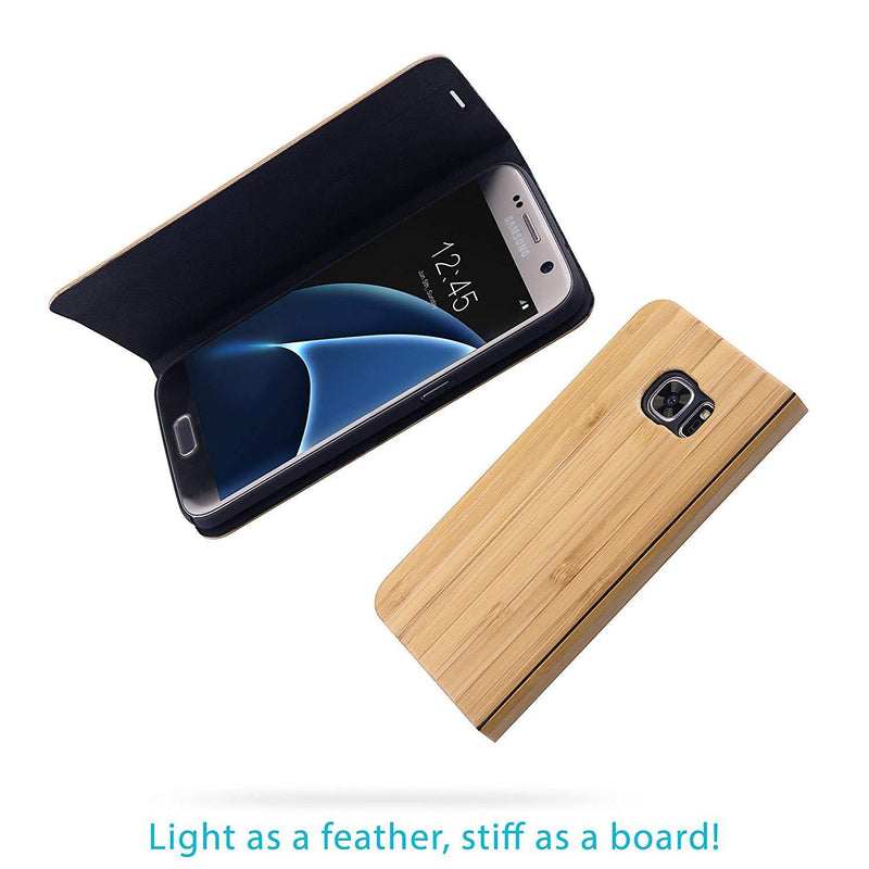 Samsung Galaxy S7 Case. Real Bamboo Wood. Folio Flip Book Style.